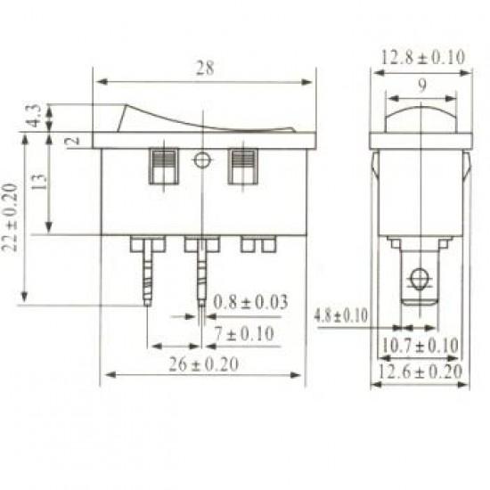 Chave Gangorra KCD10-107-101 Cinza 2 Terminais (L-D)
