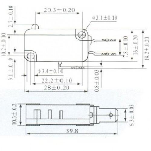 Chave Micro Switch KW11-7-6 Terminais Espaçados