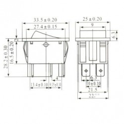 Chave Gangorra KCD4-203RN Preta 3 Posicões 6T