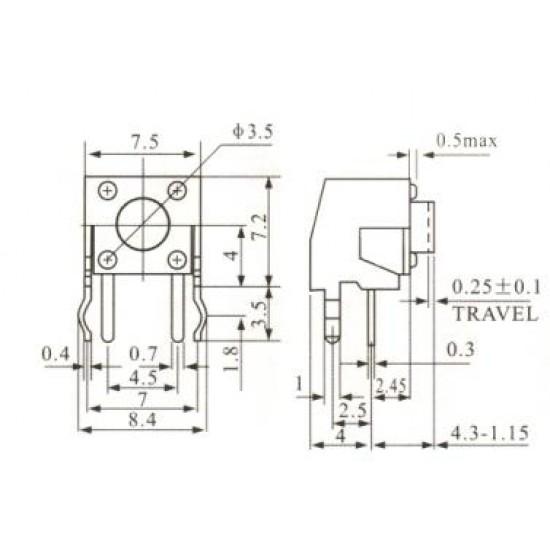 Chave Tactil KFC-A06-W1-4,3mm 4 Terminais 90 Graus