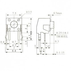 Chave Tactil KFC-A06-W1-5mm 4 Terminais 90 Graus