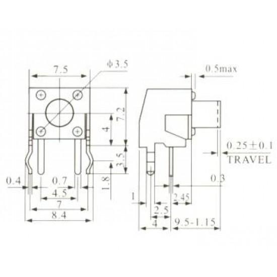 Chave Tactil KFC-A06-W1-9,5mm 4 Terminais 90 Graus