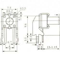 Chave Tactil KFC-A06-W2-13mm 4 Terminais 90 Graus