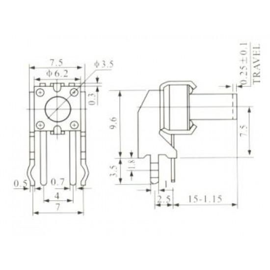 Chave Tactil KFC-A06-W2-15mm 4 Terminais 90 Graus