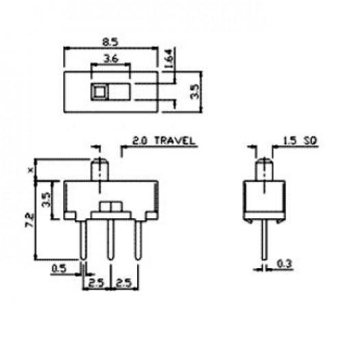 Chave SS-12D00G3 180 Graus 3 Terminais