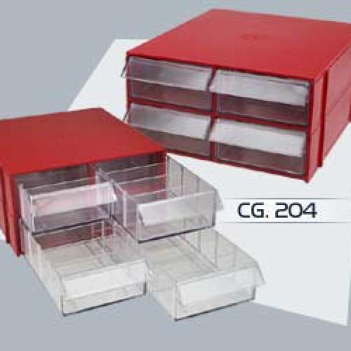 Gaveteiro CG. 202 Vermelho Com 2 Gavetas E 10 Divisórias