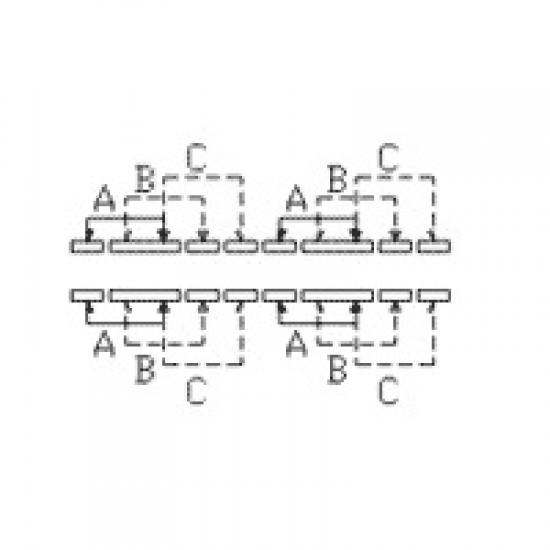 Chave HH SK-43D01 G10 16 Terminais + 4 Fixação 90 Graus