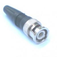 Conector ou Plug BNC Macho Para Solda Reto 180 Graus Com Capa Plástica HBN-100