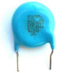 Capacitor Disco Cerâmico X1Y2 4,7nF Azul (4k7/4,7Kpf/472) 250VAC