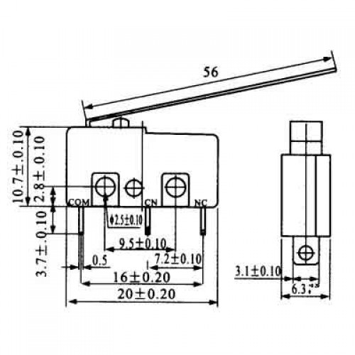 Chave Micro Switch KW11-3Z-5-3T - 56MM