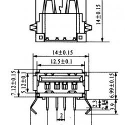 Conector USB-A Femea YH-USB01A