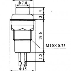 Chave Push Button DS-213 Sem Trava Vermelha