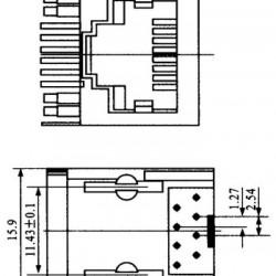 Jack RJ45 8P8C Blindado Para Placa ( YH59-01)