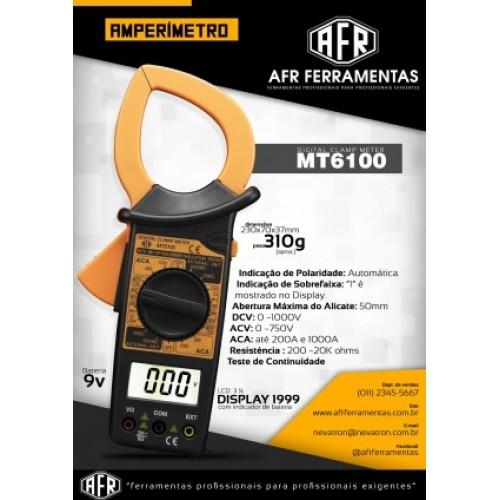 Alicate Amperímetro Digital AFR MT6100