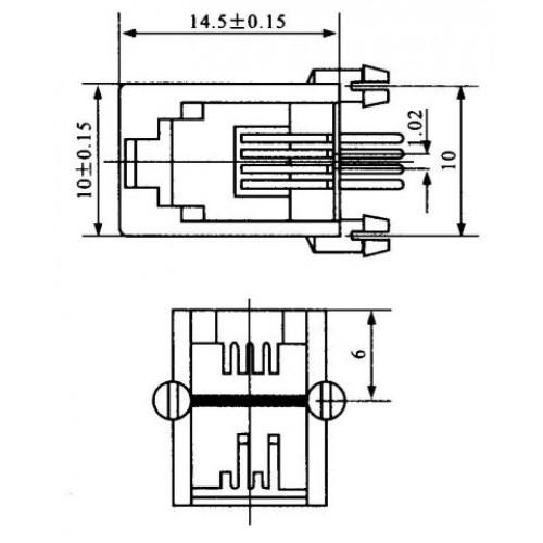 Jack RJ11 4P4C Para Placa (YH55-01)
