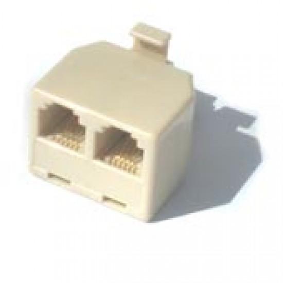 Adaptador T RJ11 YH-202 6P4C 2F X 1M Extensão De Telefone