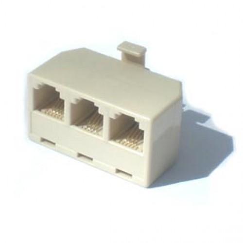 Adaptador T RJ11 YH-203 6P4C 3F X 1M Extensão De Telefone