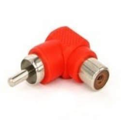 Adaptador Plug RCA 90 Graus Para Jack RCA Vermelho Níquel