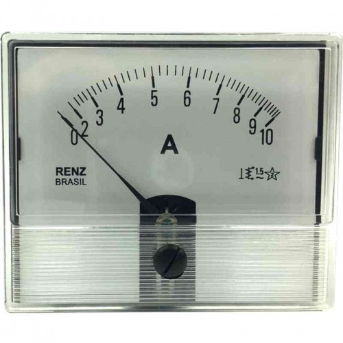 Amperímetro Analógico Renz FM-86A 0 a 10A - CA - Ferro Móvel Cristal
