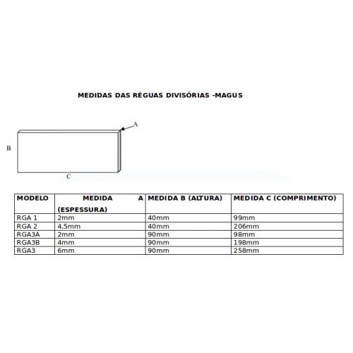 Régua Divisória P/ Gaveteiro Organizador Magus Com 10 Peças