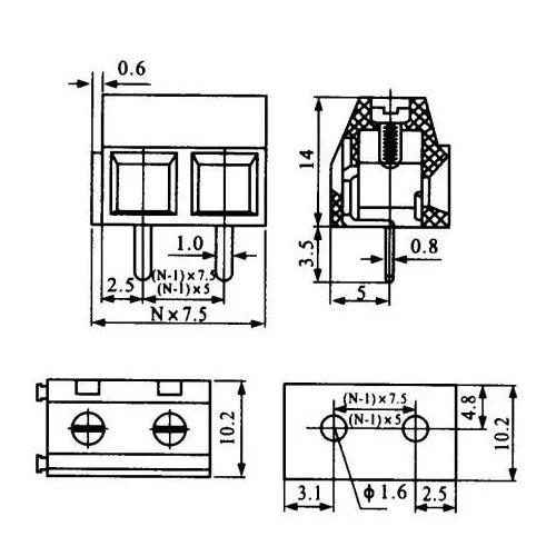 Borne KF-128 2 Terminais (KRE2/WD-128 2T) 180 Graus