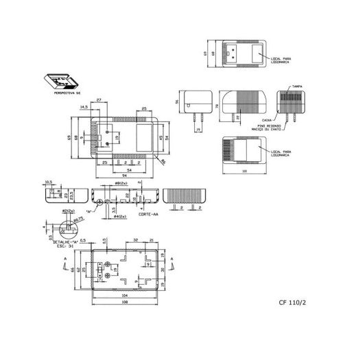 Caixa Patola CF-110/2 56x69x110mm