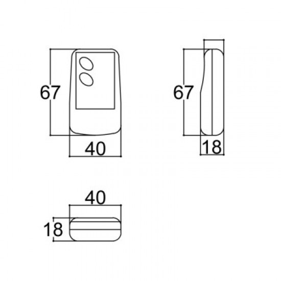 Caixa Patola CR-097/2 18x40x67 (2 Botões Pretos)