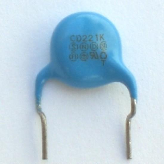 Capacitor Disco Cerâmico X1Y1 220pF X 250VAC Azul (221)