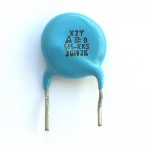 Capacitor Disco Cerâmico X2Y 1nF Azul (102)