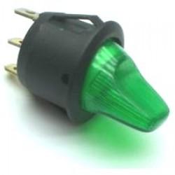 Chave Alavanca MRS-101N Verde Com Neon (3T Liga/Desliga)