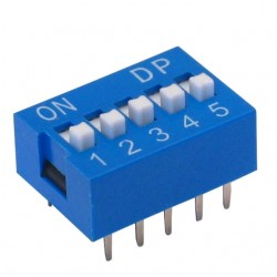 Chave Dip Switch 5 Vias 180 Graus (KF1001-05)