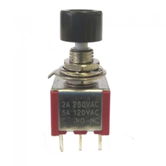 Chave Push Button DS-612 Sem Trava Preta