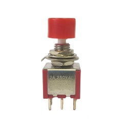 Chave Push Button DS-622 Sem Trava Vermelha