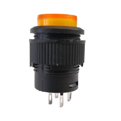 Chave Push Button R16-503AD Com Trava Com Led Amarelo 4T