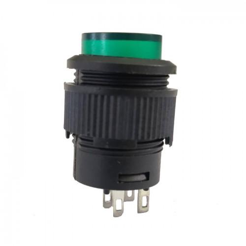Chave Push Button R16-503AD Com Trava Com Led Verde 4T