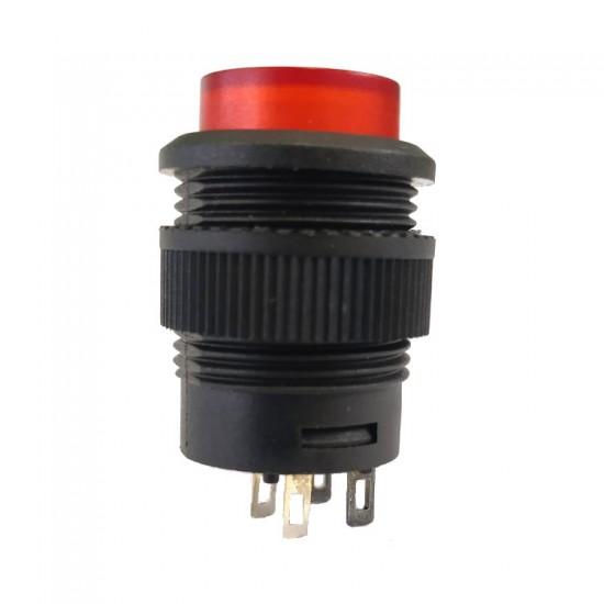 Chave Push Button R16-503AD Com Trava Com Led Vermelho 4T