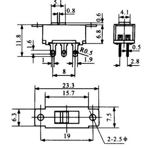 Chave HH 110/220V Pequena  6 Terminais (SS22G95) Sem Rosca Solda Fio