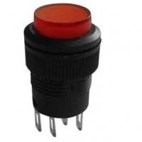 Chave Push Button R16-503BD Sem Trava Com Led Vermelha 4T