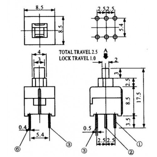 Chave Botao 8,5x8,5mm Com Trava