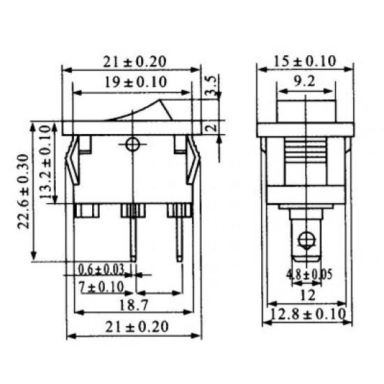 Chave Gangorra KCD1-101 Pulsante NF Preta Com Ponto