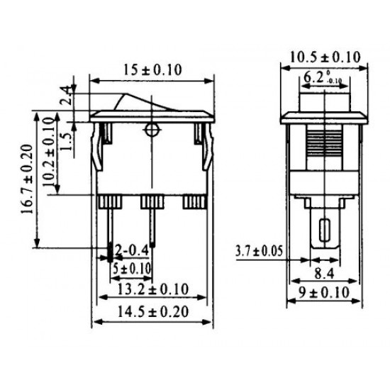 Chave Gangorra KCD11-101 Preta  2T 3A 250V (Mini L/D)