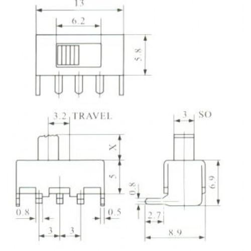 Chave SS-12F23 90 Graus 3 Terminais + 2 Fixação