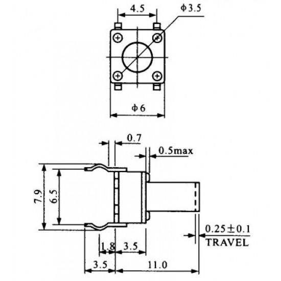Chave Tactil 6x6x11mm 4 Terminais