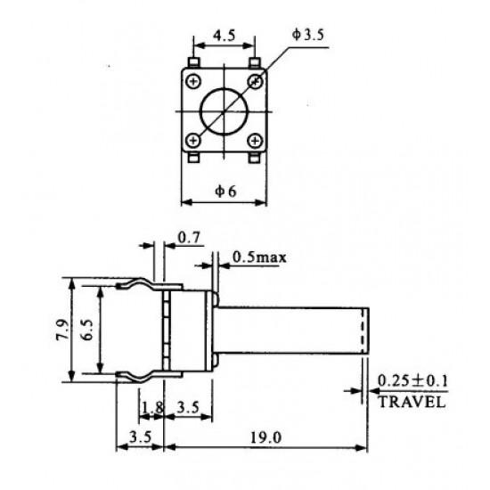 Chave Tactil 6x6x19mm 4 Terminais