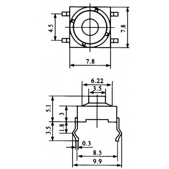 Chave Tactil KLT-112 Emborrachada 8x8 4T 180G Cinza
