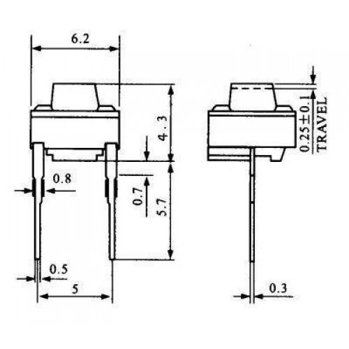 Chave Tactil 6x6x4,3mm 2 Terminais
