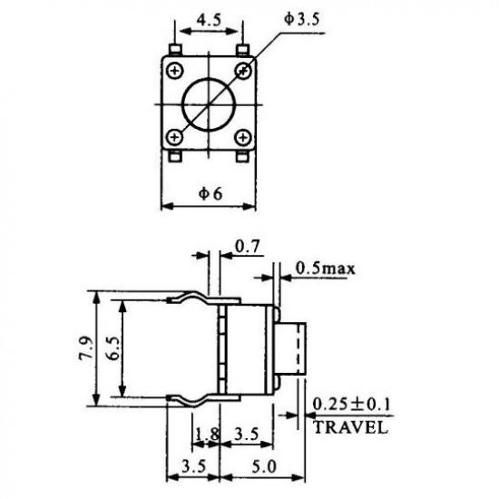 Chave Tactil 6x6x5mm 4 Terminais