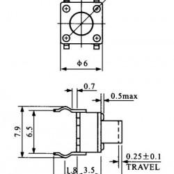 Chave Tactil 6x6x7mm 4 Terminais