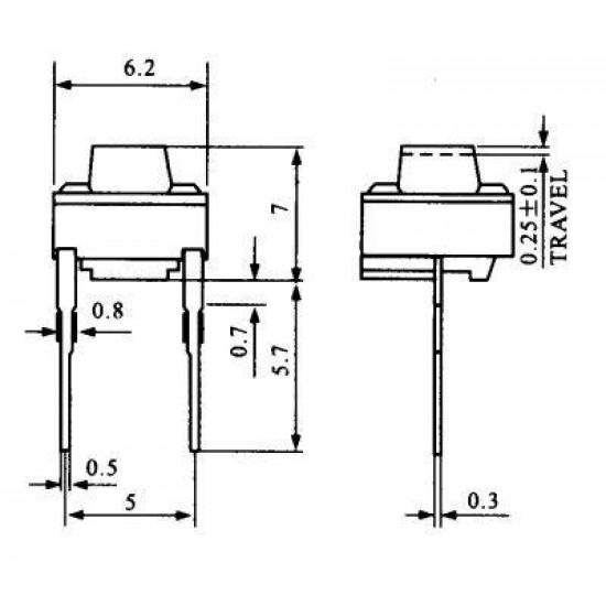 Chave Tactil 6x6x7mm 2 Terminais
