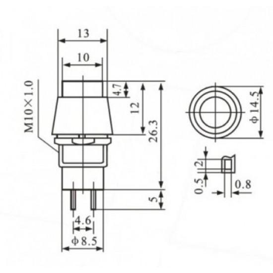 Chave PBS-11A Preta Com Trava (Tipo Push Button)